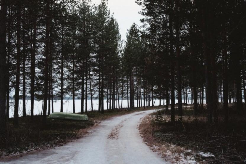 En frusen skogsväg genom tallar med en upp och ner-vänd båt till vänster