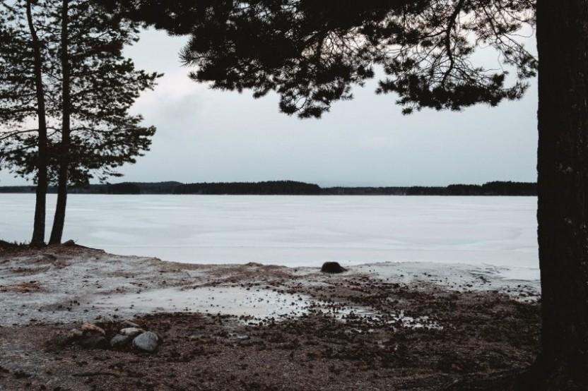 Vyn av en frusen sjö som ramas in av tallar till höger och vänster