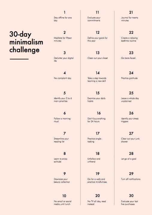 En lista på engelska med trettio utmaningar